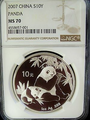 2007 China Panda 10 Yuan NGC MS70 1 Ounce Silver Coin