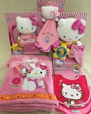 HELLO KITTY SANRIO 7 Pc Set Baby Blanket Girl Pink Toys Bibs Gift Developmental