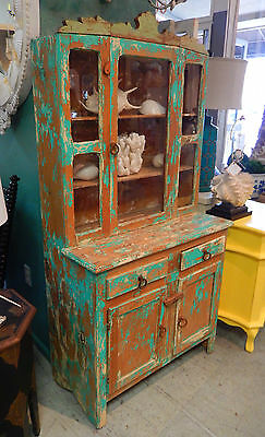 Great Vintage Stepback Hutch/cupboard Southwest Amazing Painted Patina And Size