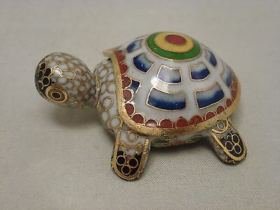 Vintage ***Good Luck*** Turtle*** Figurine  Blue Cloisonné Enamel Trinket Box