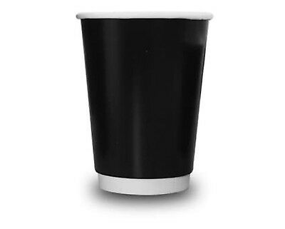 750 8Oz Black Double Wall Paper Coffee Cups & Lids, 350 Cups & 350 Lids