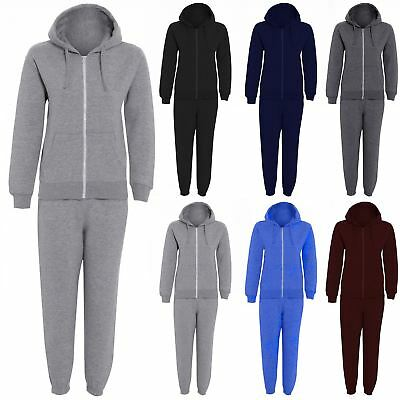 Unisex Girls Boys Plain Fleece Hooded Hoodie Top Jogsuit Bottom Jogger Tracksuit
