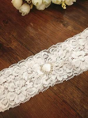 Vintage White Lace Wedding Bridal Garter Rhinestone Heart