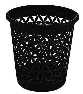 Black Stylish Modern 28cm Rattan Office Paper Waste Bin Basket Dustbin Style