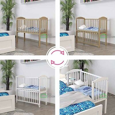 Baby cot white , drop side , cradle, bedside bed CO SLEEPER + mattress