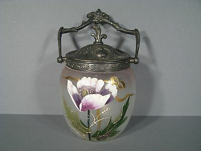 Bucket Biscuits Antique Glass Painted Enamelled / Art Nouveau Style