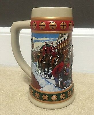1993 Budweiser Christmas Beer Stein/Cup/ Mug Clydesdales Horses Hometown Holiday