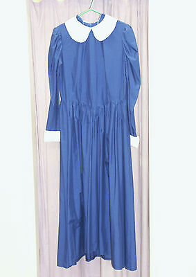 Womens Blue Florence Nightingale Victorian Dress  Re-enactment Costume UK 14-16
