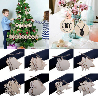 DIY Craft Plain Wooden Shape Ornament Christmas Tree Hanging Decoration Xmas Hot