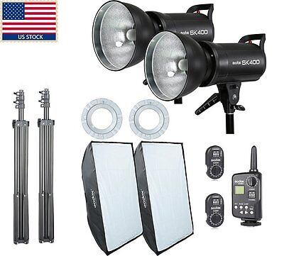 800W Godox 2x SK400 400w Studio Strobe Flash Light Softbox Trigger Kit F Wedding