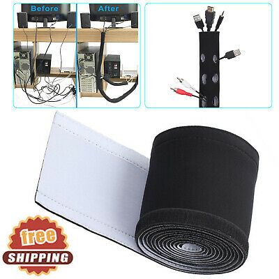 """118""""TV PC Cord Wire Cover Cable Management Organizer Neoprene Hider Sleeve 3M US"""