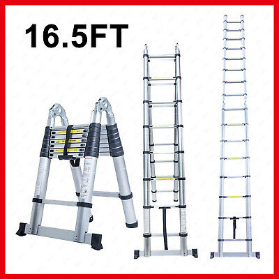 16.5FT Aluminium Folding Ladder A Frame Telescopic Extension Multi Purpose