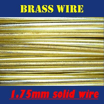10 METRES SOLID BRASS WIRE, 1.75mm = 15G SWG = 13G AWG UNCOATED AND BARE