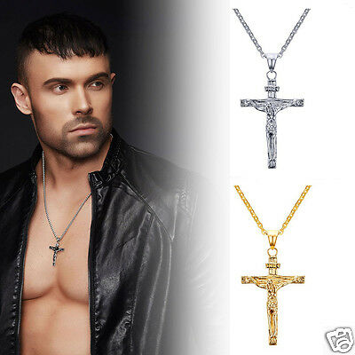 Men Christmas Gift Stainless Steel Jesus Cross Pendant Necklace Crucifix Chain