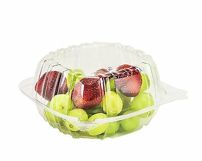 """Dart Container 50 Piece, Clear Hinged Plastic Food Take Out To-Go/Clamshell 6"""" W"""