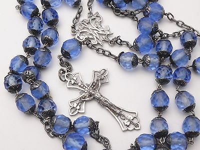 Antique French Sterling Silver All Capped Rosary Blue Glass Beads