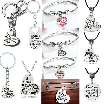 Gifts For Teacher Necklace Bracelet Keyring Charms Pendants Apple Crystal Heart