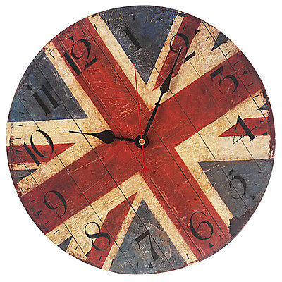 5X(FT Vintage Shabby Chic Style 34cm Wall Clock Wood Home Bedroom Retro Kitchen)