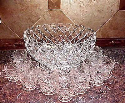 Vintage Punch Bowl Cups Williamsburg by Tiffin Franciscan 1970's? Diamond Design