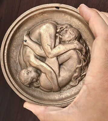 Antique Erotic Gilt Bronze Plaque of a Man and Woman Oral Pleasure 69 Medallion