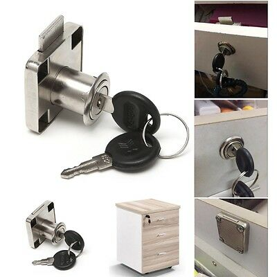 New 22mm Drawer Cam Lock with 2 Keys For Cabinet Office Wardrobe Cupboard