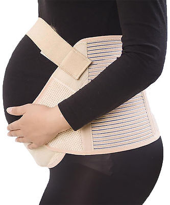 UK Maternity Pregnancy Belt Lumbar Back Support Band Belly Brace Strap Beige