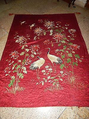 Large Antique Chinese Silk Cranes Bird Hand Embroidered Wall Hanging Textile Art