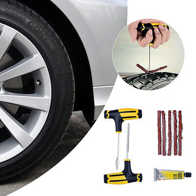 Car Tubeless Tyre Tire Puncture Repair Plug Repairing Kit Needle Patch Fix Tools