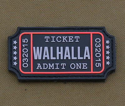 """PVC / Rubber Patch """"Ticket Walhalla"""" with VELCRO® brand hook"""
