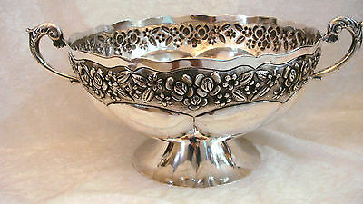 1938 MACIEL, Mexico Sterling .925 Hand Hammered Repousse Fruit, Punch Bowl 1240g