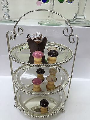 3 Tier Shiny Chrome cup cake Serving Plate Stand High Tea Desserts Cake-stand AU