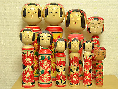 Lot of 10 Kokeshi Japan Antique Wooden Doll 1970-80s