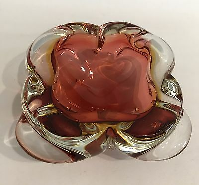 MURANO Design Glas Schale Kleeblatt 50er 60er Bowl Glass Ashtray Ascher 60s 70s