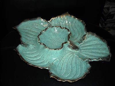 Vintage California Pottery #291 Turquoise With Gold Edges Seashell Shaped Snack