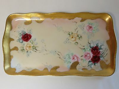 HP Dresser Pin Tray R S Germany Roses and Gold