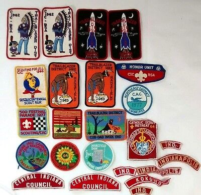 Vintage Indiana BSA Boy Scouts Patches Badges Lot 1960s 1970s CIC CAC