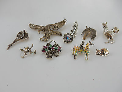 Assorted Job Lot Solid Silver Ruby & Emerald Jewellery Brooches Hallmarked