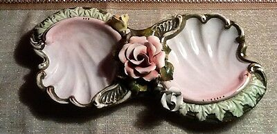 Antique Porcelain Candy Divided Dish With Attached Roses Made Italy