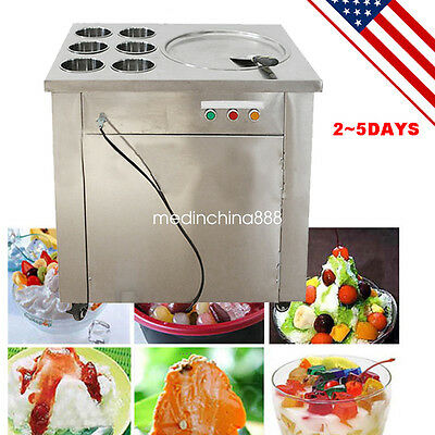 【USA STOCK】1 pan 6 Boxes FriedIce Cream Machine With Three Buttons One Scrapper