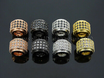 3 Rows Zircon Gemstone Pave Barrel 7x9mm Bracelet Spacer Connector Charm Beads