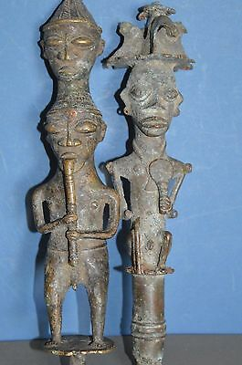 Pair Antique Early 20th Century African Bronze Statues/Staff  Tips, c1920