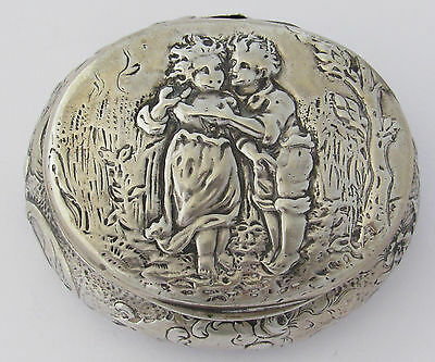 Antique Sterling Silver Box With Young Lovers In The Woods - Hinge Broken