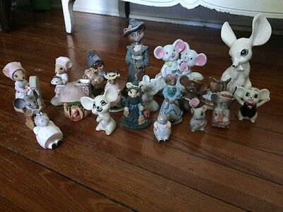 Collectible Porcelain Vintage/Mid-2000s Mice Mouse Figurine Collection 20 Pieces