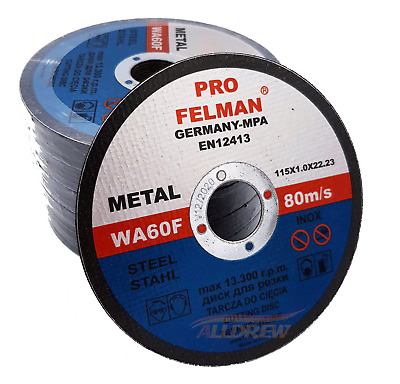 115mm x 1mm Thin Cutting Discs Angle Grinder 4,5'' -- METAL / INOX -- Pack of 10