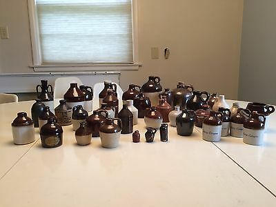 Over 30 antique mini jugs without damage mostly stoneware