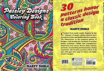 Paisley Designs Coloring Book Kid Child Adult Relaxing Art Creative Pencil Color