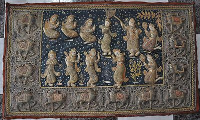 Embroidered Indian Tapestry Needlework Beads  , India Ancient