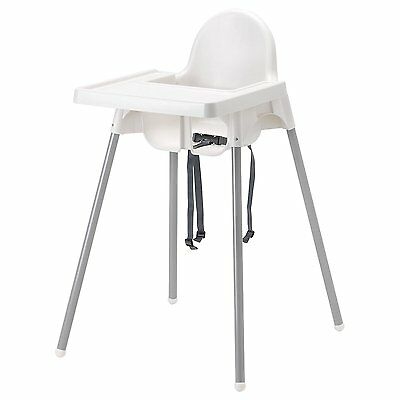 Ikea's ANTILOP Highchair with safety belt, white, silver color and ANTILOP white