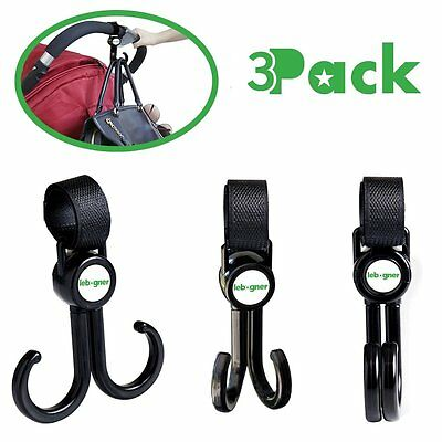 Stroller Hooks By Lebogner - 3 Pack Multi-Purpose Rotating Hooks Great For And