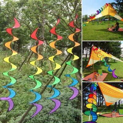 Rainbow Color Spiral Wind Twister Garden Park Tent Charm Hanging Spinner NEW LH